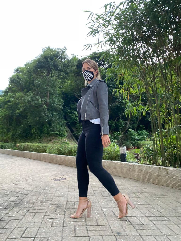 nude heels and black jeans with jazz feat.mask